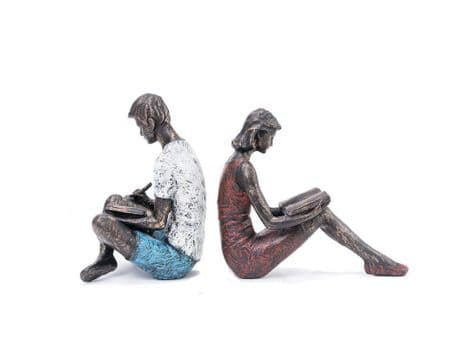bronze couple bookends | couple reading bookends