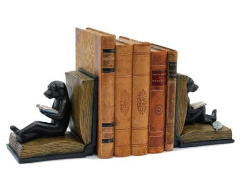 reading dog bookends | sitting dog statues | Libra