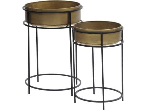 brass planters on stands | gold drum planters | Libra