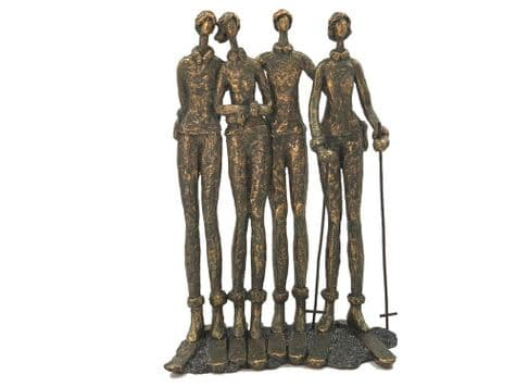 ski group sculpture | skiing friends bronze ornament