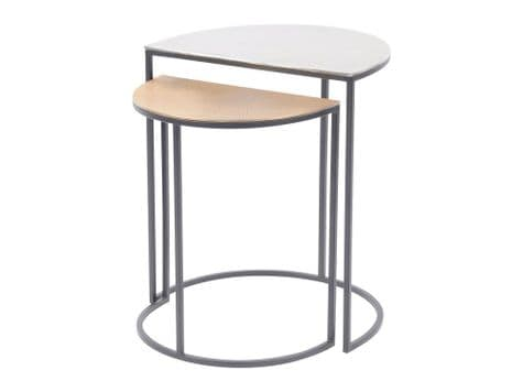 semi-circle nesting tables | gold and silver set of tables | Libra