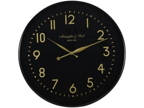 large black and gold clock   black and brass wall clock   Libra Christopher