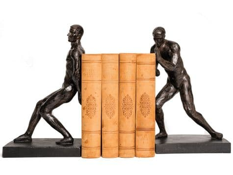 pushing man bookends | strongman bookends