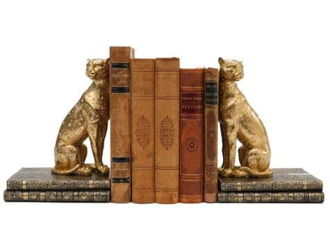 golden cheetah bookends | big cat book ends | Libra Santiago