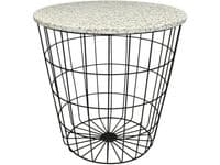 Terrazzo Grey and White Marble Side Table with Basket Base