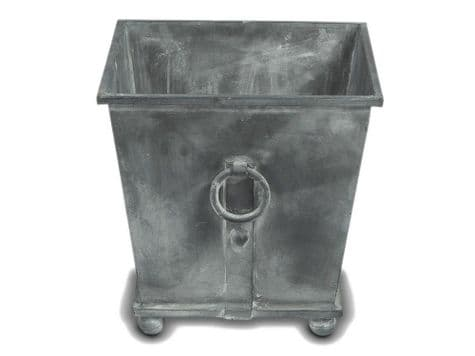 aged zinc metal indoor planter | antique metal box planter with ring
