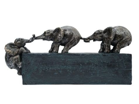 baby elephants bronze statue | elephant trunk pull ornament | Libra Tavora