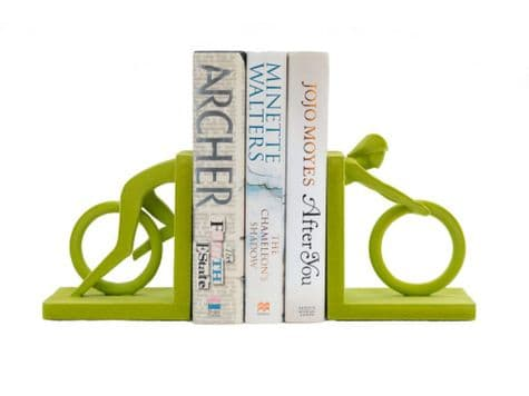 green cyclist bookends   velvet cyclist bookends