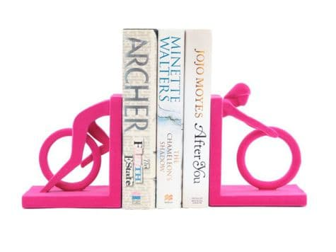 pink cyclist bookends | velvet cyclist ornaments