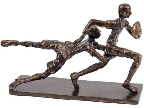 rugby tackle sculpture   rugby bronze statue   Libra