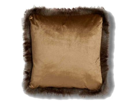 gold fur trim velvet cushion | gold velvet cushion