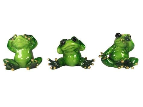 see no evil frog ornaments | glossy wise frog figures