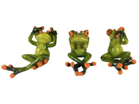 wise frog ornaments | see no evil frog figures | Libra