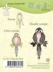 55.1611 ~ DOODLE BIRD WITH LEAVES  ~ Leane Creatief Clear Stamp