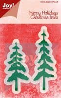 6002/2056 ~ HAPPY HOLIDAYS CHRISTMAS TREES ~ JOY CRAFTS Cut+Emboss dies