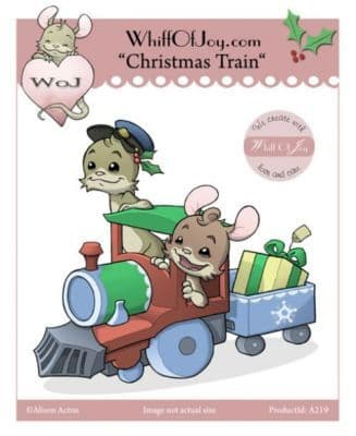 A219 CHRISTMAS TRAIN w. Henry Mouse ~ Whiff of Joy rubber stamp