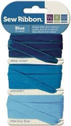 BLUE - We R Memory Keepers Sew Ribbon set of 3 Ribbons