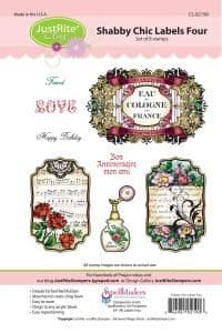 CL-02190 ~ Shabby Chic Labels Four ~ JustRite cling stamp set