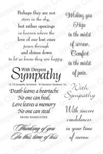 CL114 ~ SYMPATHY SENTIMENTS ~ Clear self-cling  Impression Obsession stamps