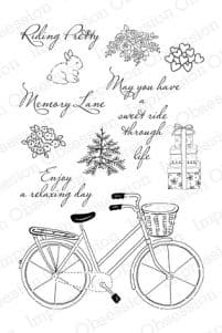 CL255 ~ RIDING PRETTY - bicycle ~ Clear self-cling  Impression Obsession stamps