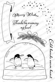 CL819 ~ Penguins Skating ~ Clear self-cling  Impression Obsession stamps