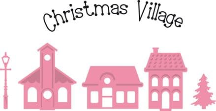 COL1329 ~ CHRISTMAS VILLAGE  with clear Christmas Village STAMP ~ Marianne Design Collectables