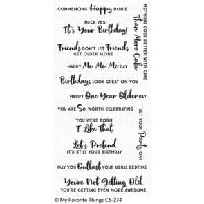 CS-274 ~ Anything but Basic B'day Wishes ~ CLEAR CLING BACKED STAMPS~ MY FAVORITE THINGS