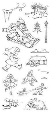 CS040D ~ WINTER FUN SCENE ITS  ~ HOBBY ART Clear self cling stamps