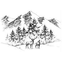 CTJJ107 ~ Deer Mountain Scene ~ Two Jays Stamp Co ~ clear stamps
