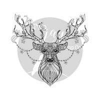 CTJJ140 -Christmas Stamps Stags Head -Two Jays - Clear Stamp