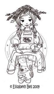 E128 ~ Whiff of Joy rubber stamp Seated WILLOW bread in lap