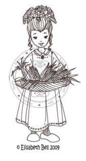 E129 ~  WILLOW w. corn basket ~ Whiff of Joy rubber stamp