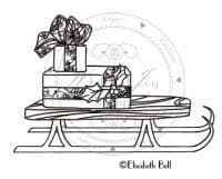 E168 ~ SLED with gifts  ~ Whiff of Joy rubber stamp