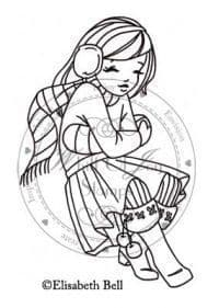 E170 ~ FREEZING WILLOW sitting ~ Whiff of Joy rubber stamp