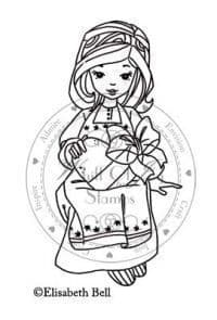 E171 ~ WILLOW seated w. heart ~ Whiff of Joy rubber stamp