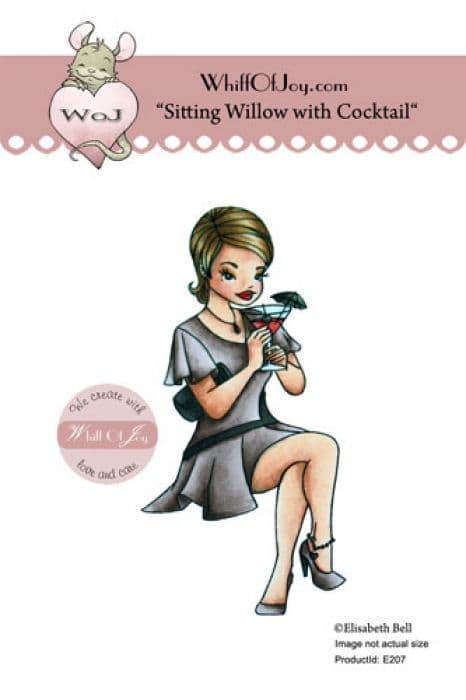E207 ~ WILLOW with COCKTAIL ~ Whiff of Joy rubber stamp