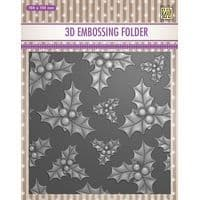 EF3D014 ~Holly Leaves &  Berries ~ NELLIE SNELLEN  EMBOSSING FOLDER