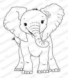 H13692 ~ BABY ELEPHANT ~  Red Rubber stamp on EZ mount foam ~  Impression Obsession