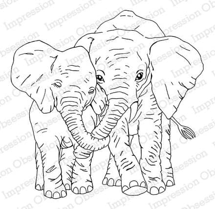 H7924 ~ ELEPHANT LOVE ~  Red Rubber stamp on EZ mount foam ~  Impression Obsession