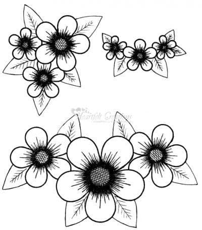 HCPC 3305 POSY PATCH CLUSTERS stamps HEARTFELT CREATIONS