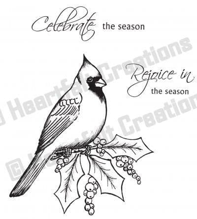 HCPC 3351 ~ CARDINAL w. HOLLY BERRIES