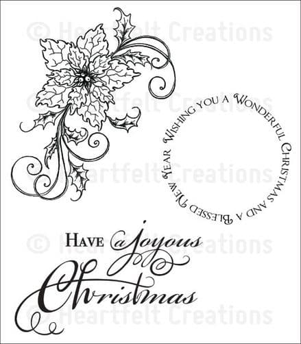 HCPC 3682 ~ SPARKLING POINSETTIA SWIRL  ~   PreCut Cling stamp Set  ~  Heartfelt Creations
