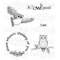 HCPC-3717 - IT'S OWL GOOD ~ HEARTFELT CREATIONS CLING STAMPS