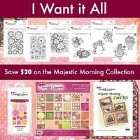 IWIA 142 ~ MAJESTIC MORNING Collection , die set, card kit, 6 stamp sets + paper pad