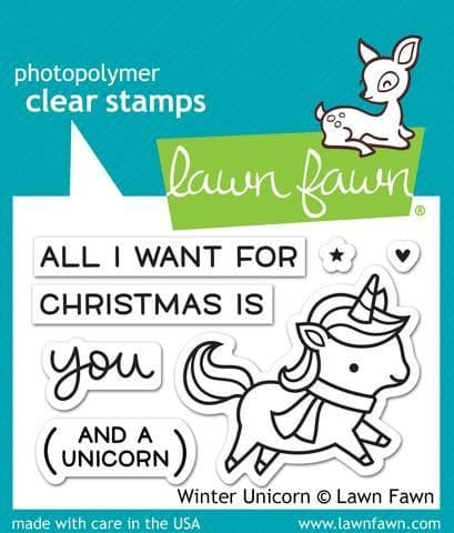 LF1218 S ~ WINTER UNICORN ~ CLEAR STAMPS BY LAWN FAWN