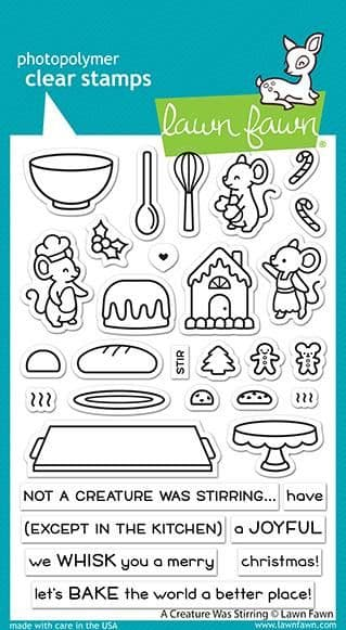 LF2415 a creature was stirring sayings stamps BY LAWN FAWN
