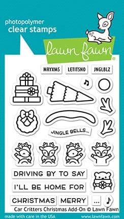 LF2423 M car critters Christmas add-on sayings stamps BY LAWN FAWN