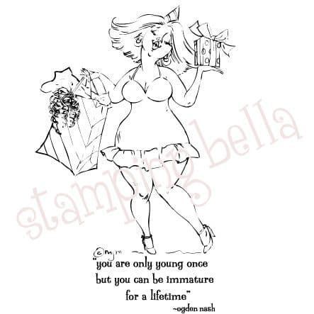 MO142 ~ VERONICA ~ unmounted grey rubber stamp