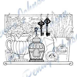 PEN 045 ~ GARDEN SHELF ~ PENNY JOHNSON Stampavie stamp