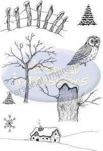 PICSA6261 ~ BUILD A SNOWY SCENE set of eight ~ PERSONAL IMPRESSIONS designed by LINDSAY MASON ~ clear stamp